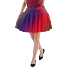 Rainbow Two Background A Line Pocket Skirt