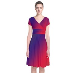 Rainbow Two Background Short Sleeve Front Wrap Dress