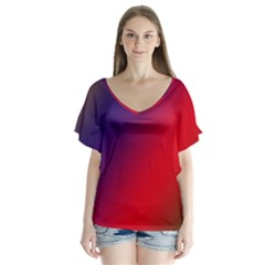 Rainbow Two Background Flutter Sleeve Top