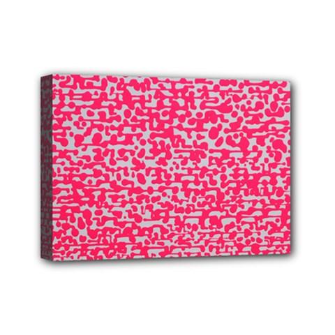 Template Deep Fluorescent Pink Mini Canvas 7  X 5
