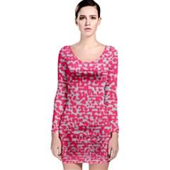 Template Deep Fluorescent Pink Long Sleeve Bodycon Dress