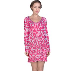 Template Deep Fluorescent Pink Long Sleeve Nightdress