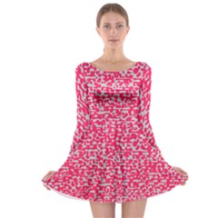 Template Deep Fluorescent Pink Long Sleeve Skater Dress