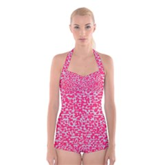 Template Deep Fluorescent Pink Boyleg Halter Swimsuit