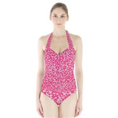 Template Deep Fluorescent Pink Halter Swimsuit
