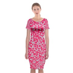 Template Deep Fluorescent Pink Classic Short Sleeve Midi Dress