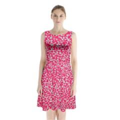 Template Deep Fluorescent Pink Sleeveless Chiffon Waist Tie Dress