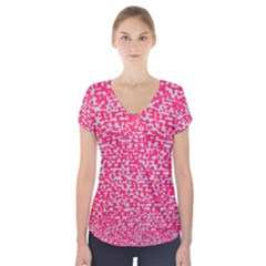 Template Deep Fluorescent Pink Short Sleeve Front Detail Top