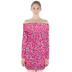 Template Deep Fluorescent Pink Long Sleeve Off Shoulder Dress