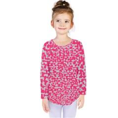 Template Deep Fluorescent Pink Kids  Long Sleeve Tee