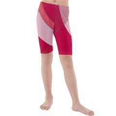 Red Material Design Kids  Mid Length Swim Shorts