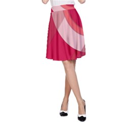 Red Material Design A Line Skirt