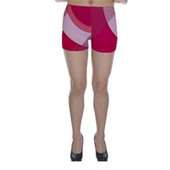 Red Material Design Skinny Shorts