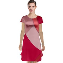 Red Material Design Cap Sleeve Nightdress