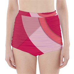Red Material Design High-Waisted Bikini Bottoms