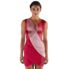 Red Material Design Wrap Front Bodycon Dress