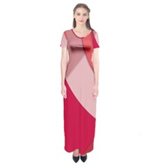 Red Material Design Short Sleeve Maxi Dress