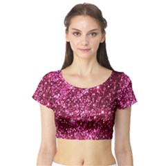 Pink Glitter Short Sleeve Crop Top (tight Fit)