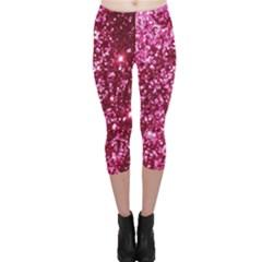 Pink Glitter Capri Leggings