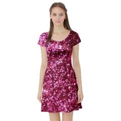 Pink Glitter Short Sleeve Skater Dress