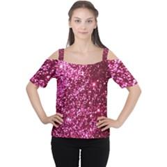 Pink Glitter Women s Cutout Shoulder Tee