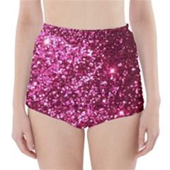 Pink Glitter High-Waisted Bikini Bottoms