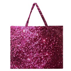 Pink Glitter Zipper Large Tote Bag