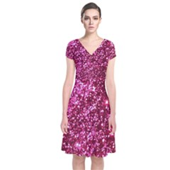 Pink Glitter Short Sleeve Front Wrap Dress