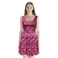 Pink Glitter Split Back Mini Dress