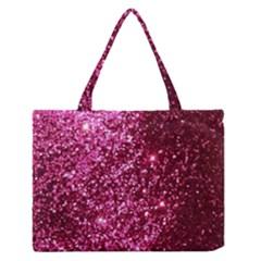 Pink Glitter Medium Zipper Tote Bag