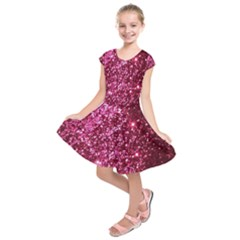 Pink Glitter Kids  Short Sleeve Dress