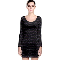 Smooth Color Pattern Long Sleeve Bodycon Dress