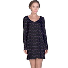 Smooth Color Pattern Long Sleeve Nightdress