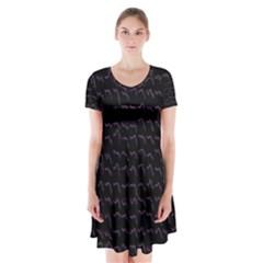 Smooth Color Pattern Short Sleeve V Neck Flare Dress