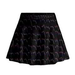 Smooth Color Pattern Mini Flare Skirt