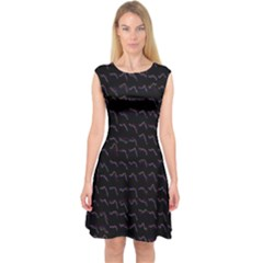 Smooth Color Pattern Capsleeve Midi Dress
