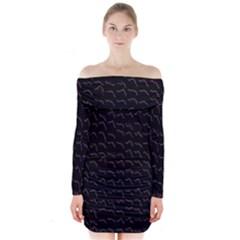 Smooth Color Pattern Long Sleeve Off Shoulder Dress