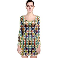 Retro Pattern Abstract Long Sleeve Bodycon Dress