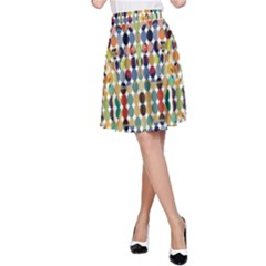 Retro Pattern Abstract A Line Skirt