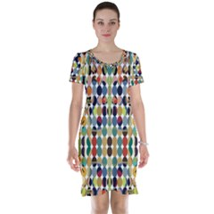 Retro Pattern Abstract Short Sleeve Nightdress