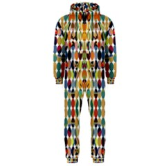 Retro Pattern Abstract Hooded Jumpsuit (men)