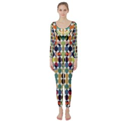 Retro Pattern Abstract Long Sleeve Catsuit