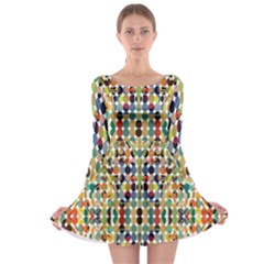 Retro Pattern Abstract Long Sleeve Skater Dress