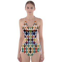 Retro Pattern Abstract Cut Out One Piece Swimsuit