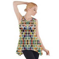 Retro Pattern Abstract Side Drop Tank Tunic