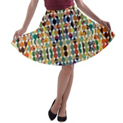 Retro Pattern Abstract A Line Skater Skirt