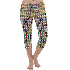 Retro Pattern Abstract Capri Yoga Leggings