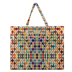 Retro Pattern Abstract Zipper Large Tote Bag