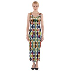 Retro Pattern Abstract Fitted Maxi Dress