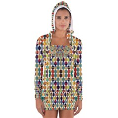 Retro Pattern Abstract Women s Long Sleeve Hooded T-shirt